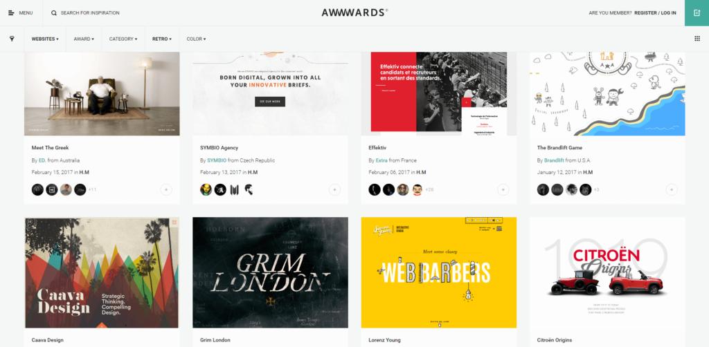 retro tendinte de web design 2017