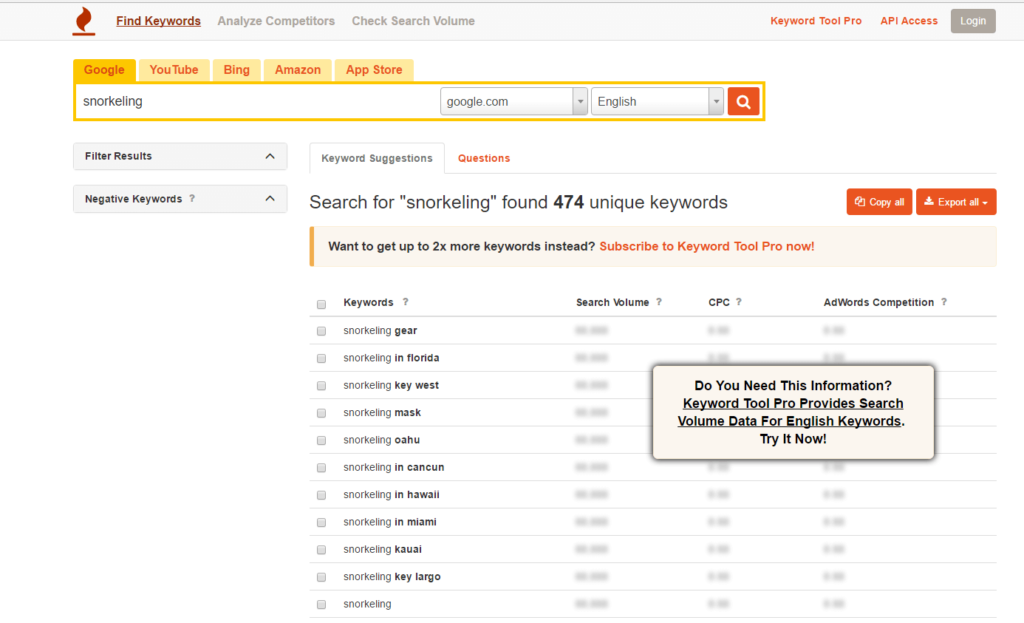 Analiza SEO keyword tool